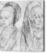 A Young Girl Of Cologne And Dbcrer Wife 1520 Acrylic Print