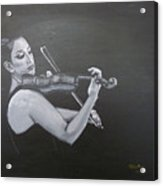 A Young Lady Playing A Violin Acrylic Print