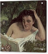 A Young Woman Reading Acrylic Print