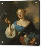 A Young Woman With A Parrot, Ary De Vois, 1660 - 1680 Acrylic Print