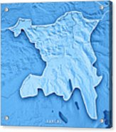 Aargau Canton Switzerland 3d Render Topographic Map Blue Border Acrylic Print