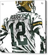 Aaron Rodgers Green Bay Packers Pixel Art 5 Acrylic Print