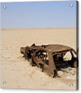 Abandoned And Rusty Car Wreck In Desert Acrylic Print
