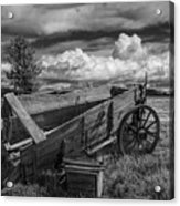 Abandoned Broken Down Frontier Wagon In Black And White Acrylic Print