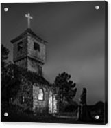 Abandoned Church At Night. Mysterious Nun Acrylic Print