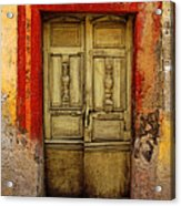 Abandoned Green Door 1 Acrylic Print by Mexicolors Art Photography