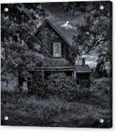Abandoned Home In Lubec Maine Bw Version Acrylic Print
