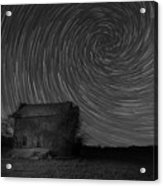 Abandoned House Spiral Star Trail Bw  Acrylic Print