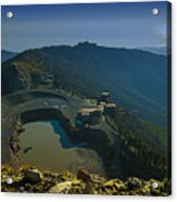 Abandoned Quarry With Lake Sea And Genoa Panorama Acrylic Print