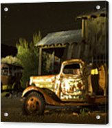 Abandoned Truck And School Bus In Ghost Town Acrylic Print