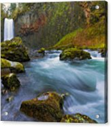 Abiqua Falls In Spring Acrylic Print