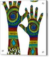 Aboriginal Hands Gold Transparent Background Acrylic Print