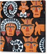 Aboriginal Painted Wood Carvings Acrylic Print