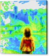 Above The Clouds - A Fantasy Artwork With A Girl Looking Towards Something Mysterious Acrylic Print