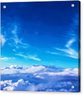 Above The Clouds Sky Is Always Blue Acrylic Print