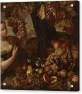 Abraham Brueghel After, Girl With Grapes And Still Life With Fruit. Acrylic Print