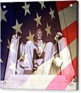 Abraham Lincoln Memorial Blended With American Flag Acrylic Print