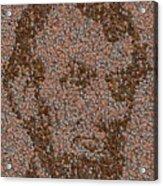 Abraham Lincoln Penny Mosaic Acrylic Print by Paul Van Scott