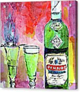 Absinthe Bottle And Glasses Watercolor By Ginette Acrylic Print