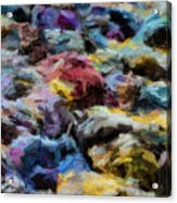 Abstract 133 Digital Oil Painting On Canvas Full Of Texture And Brig Acrylic Print