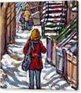 En Route Vers L'ecole Escaliers De Montreal Scenes De Ville Peintures A Vendre Acrylic Print