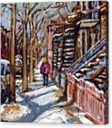 Scenes De Ville De Montreal En Hiver Original Quebec Art For Sale Montreal Street Scene Acrylic Print