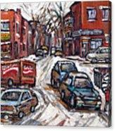 Ville Emard En Peinture Scenes De Ville De Montreal En Hiver Petit Format A Vendre Acrylic Print