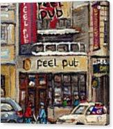 Rue Peel Montreal En Hiver Parie De Hockey De Rue Peel Pub Acrylic Print