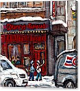 Dunn's Famous Deli Downtown Montreal Scenes De Rue Montreal Centre Ville En Hiver Joueur De Hockey Acrylic Print