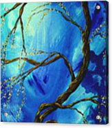 Abstract Art Asian Blossoms Original Landscape Painting Blue Veil By Madart Acrylic Print