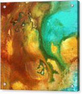 Abstract Art Colorful Turquoise Rust River Of Rust I By Madart  Acrylic Print