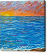 Abstract Art- Flaming Ocean Acrylic Print
