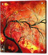 Abstract Art Floral Tree Landscape Painting Fresh Blossoms By Madart Acrylic Print