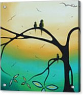Abstract Art Landscape Bird Painting Family Perch By Madart Acrylic Print