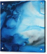 Abstract Art Original Blue Pianting Underwater Blues By Madart Acrylic Print by Megan Duncanson