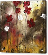 Abstract Art Original Flower Painting Floral Arrangement By Madart Acrylic Print
