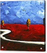 Abstract Art Original Landscape Painting Winding Road By Madart Acrylic Print