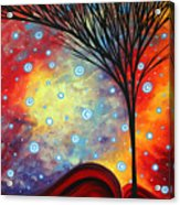 Abstract Art Whimsical Landscape Painting Morning Bliss By Madart Acrylic Print