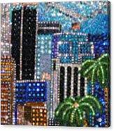 Los Angeles. Rhinestone Mosaic With Beadwork Acrylic Print