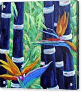 Abstract Bamboo And Birds Of Paradise 04 Acrylic Print