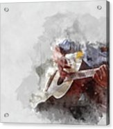 Abstract Beautiful Playing Guitar In The Foreground On Watercolor Painting Background. Acrylic Print