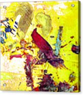 Abstract Bird On Yellow Acrylic Print
