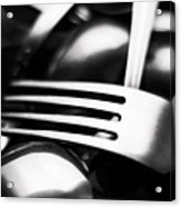 Abstract Black And White Photo Of Mixed Silver Forks Acrylic Print