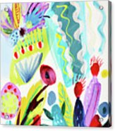 Abstract Cactus And Flowers Acrylic Print