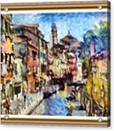 Abstract Canal Scene In Venice L A S With Decorative Ornate Printed Frame. Acrylic Print