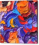 Abstract Colorful Flowers Impasto Palette Knife Modern Impressionist Oil Painting Ana Maria Edulescu Acrylic Print