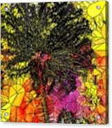 Abstract Dandelion Stained Glass Acrylic Print
