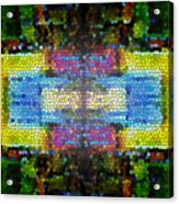 Abstract Digital Shapes Colourful Stained Glass Texture Acrylic Print
