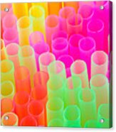 Abstract Drinking Straws Acrylic Print by Meirion Matthias