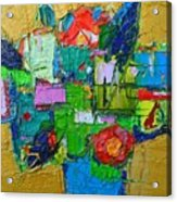 Abstract Flowers On Gold Contemporary Impressionist Palette Knife Oil Painting By Ana Maria Edulescu Acrylic Print